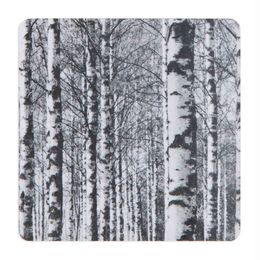 Coaster Birch forest, black and white
