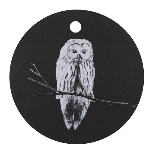 Cutting board 24cm Owl black