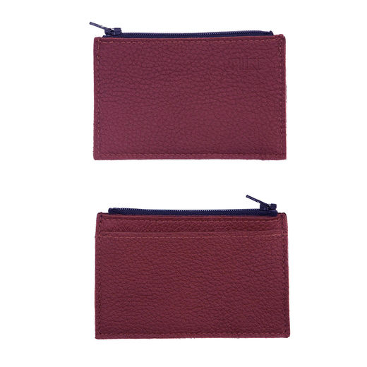 Purse with card pocket, burgundy