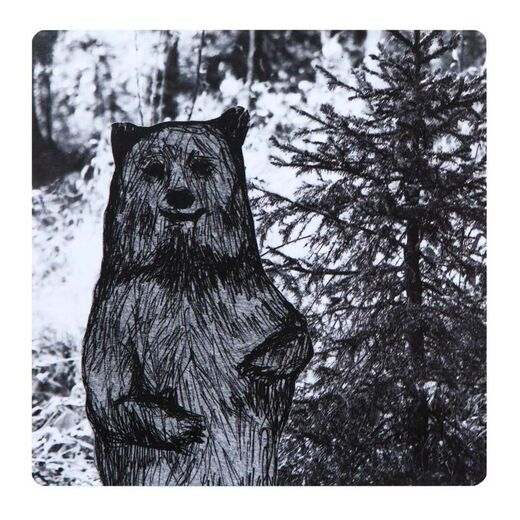 Coaster Bear b&w
