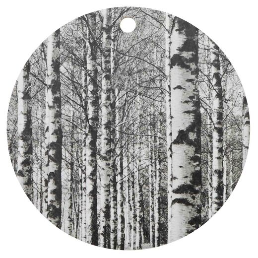 Cutting board 30cm Birch forest, black and white