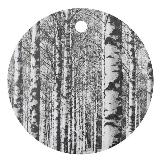 Birch forest b&w cutting board round 24cm