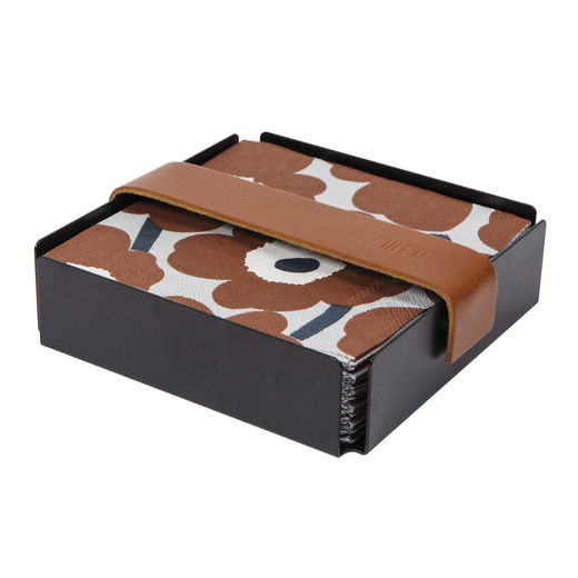 Napkin box, black, brown strap