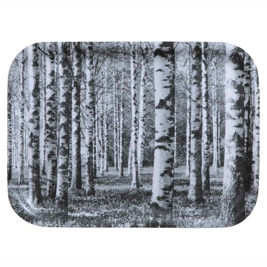 Tray 27x20cm Birch forest, black and white
