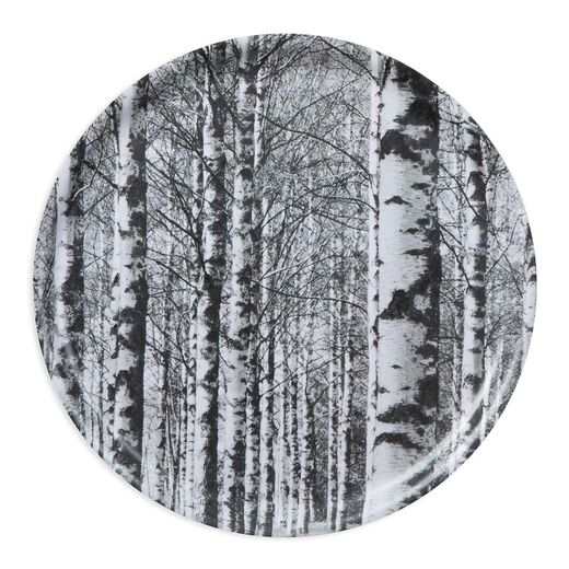 Tray 40cm, Birch forest, black and white