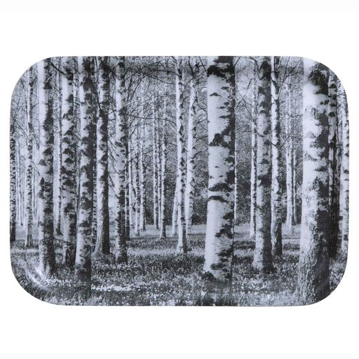 Birch forest tray black and white 27x20cm