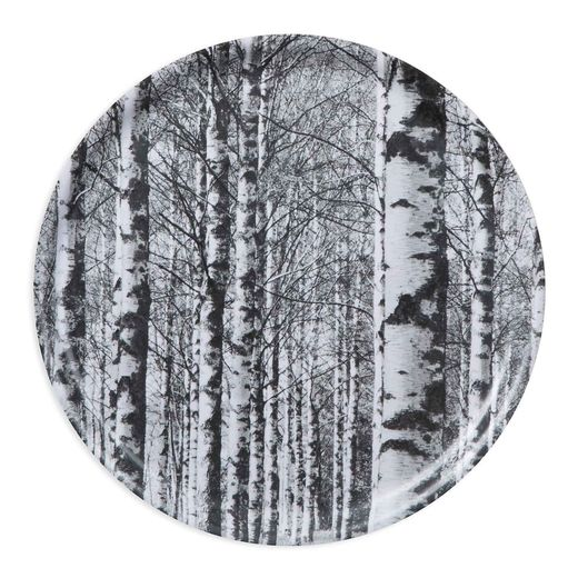 Tray 40cm Birch forest, black and white