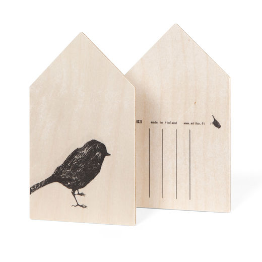 Bird plywood postcard